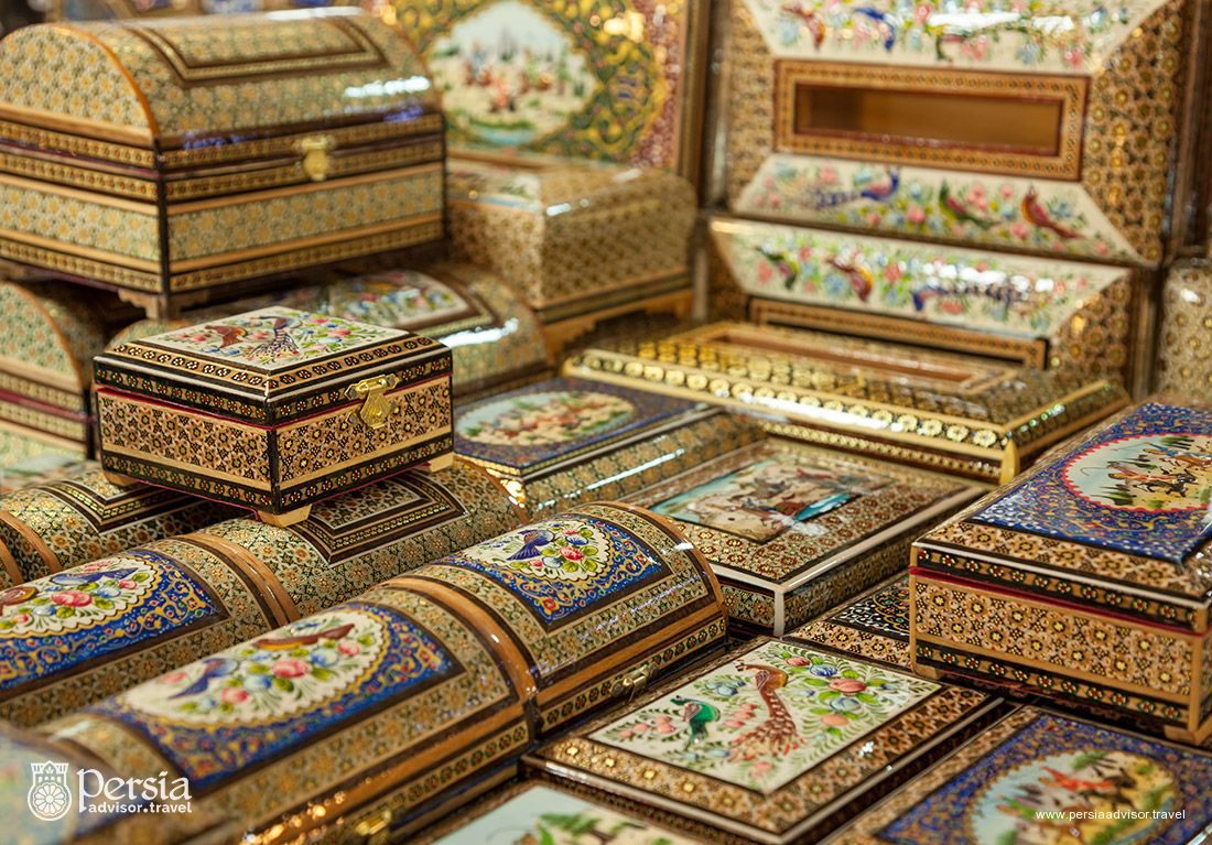 Iranian Handicrafts, Wooden boxes, Khatam, Miniature Paintings, Isfahan, Iran (Persia)