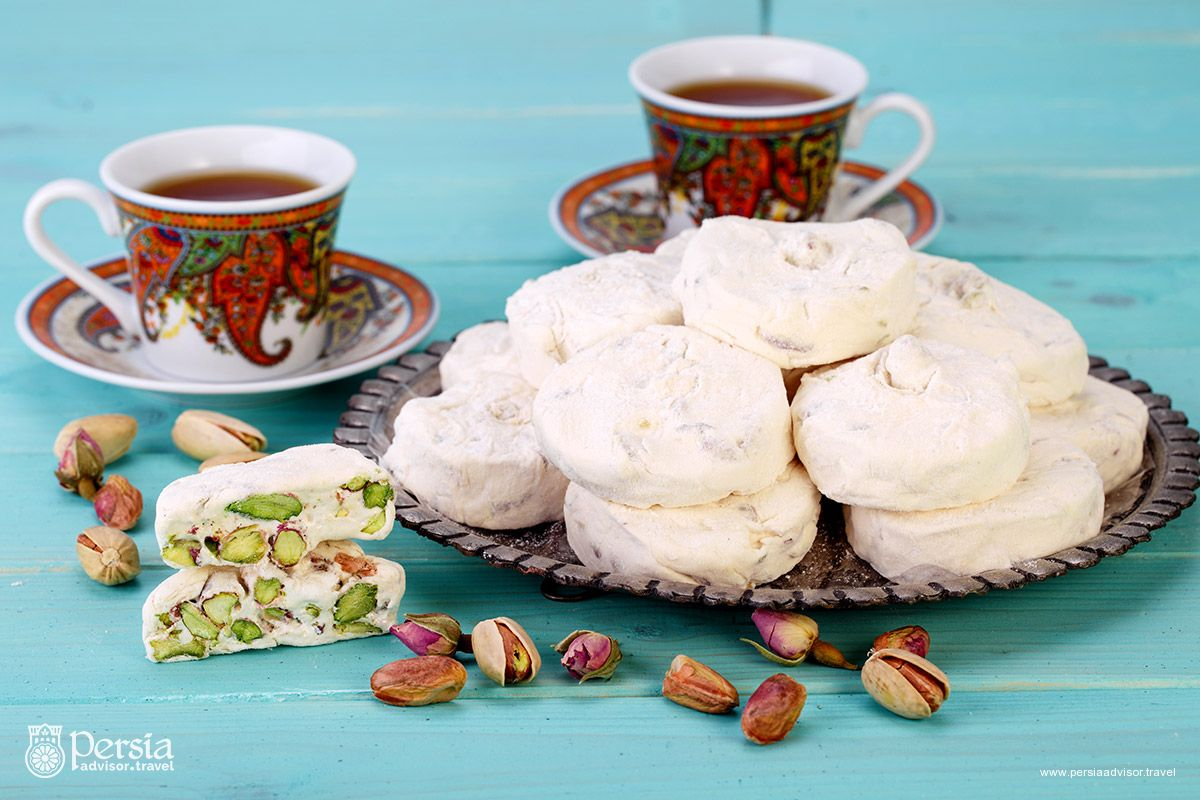 Persian Food, Iranian Cuisine, Tea, Pistachio and Gaz Candy - Persia Advisor Travel