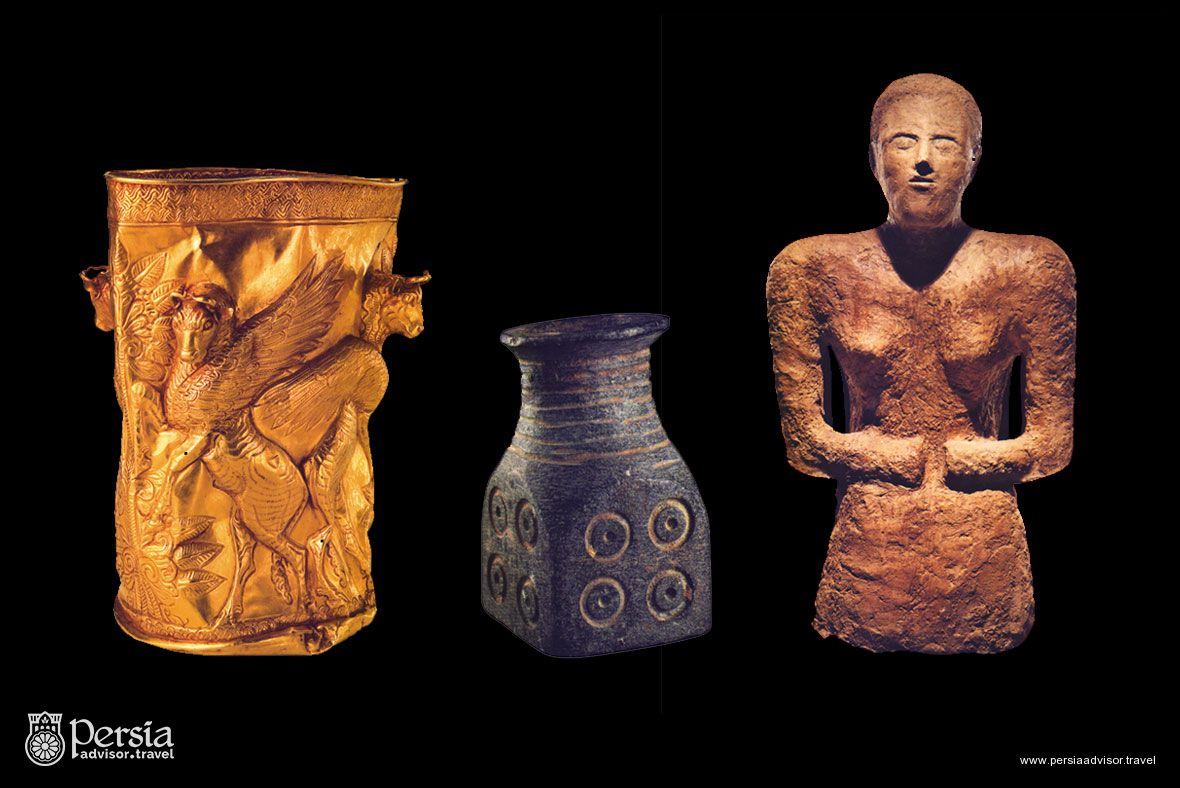 Prehistoric - Golden cup, Stone vessel, Bust Woman - Iran National Museum