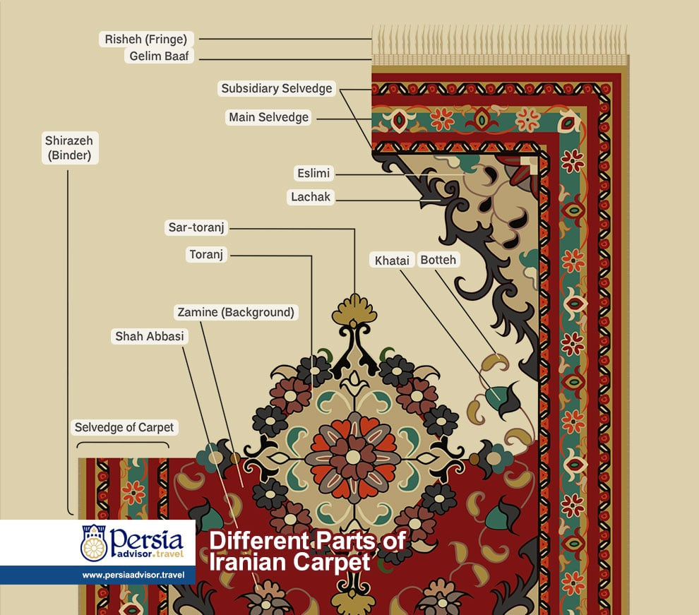 Different Parts of Iranian Carpet Infographic - Persia Advisor Travels
